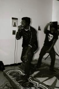 Sykez performing at the zine release party at ORNG Ink