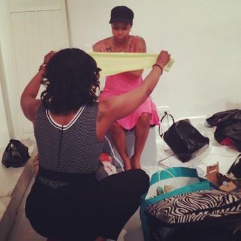 Pat n Kat on The Robyn Chronicles promo shoot set