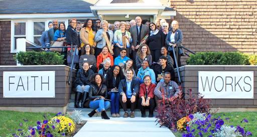 Group photo at 100 Year House in front of the First UU Church of Essex in Orange, New Jersey Photography by Briana Heart