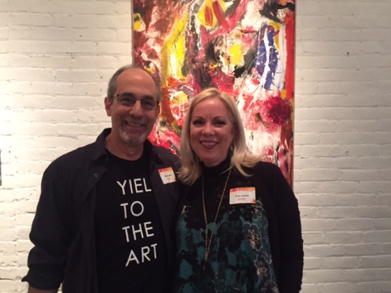 Mikel Frank & Aida Jones in front of Visual Passion duo art at the Firehouse Gallery